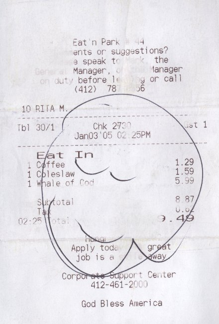 Eat n Park Receipt: 'God Bless America'