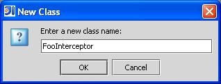 Screenshot of IDEA: entering a class name