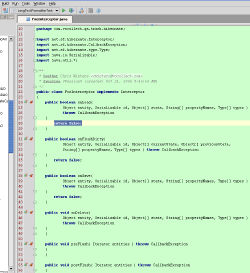 Screenshot of IDEA: empty implementations for a few of the methods